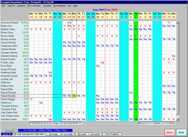 Click to view Employee Scheduling Assistant 2000 2.2 screenshot